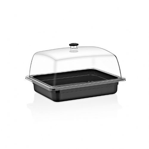 GN 1/2 DOME COVER CLEAR -TRAY BLACK